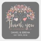 Grey Birds Floral Script Thank You Wedding Sticker