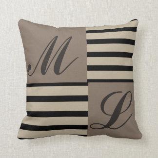 Grey Black and Beige stripes Monogram Cushion