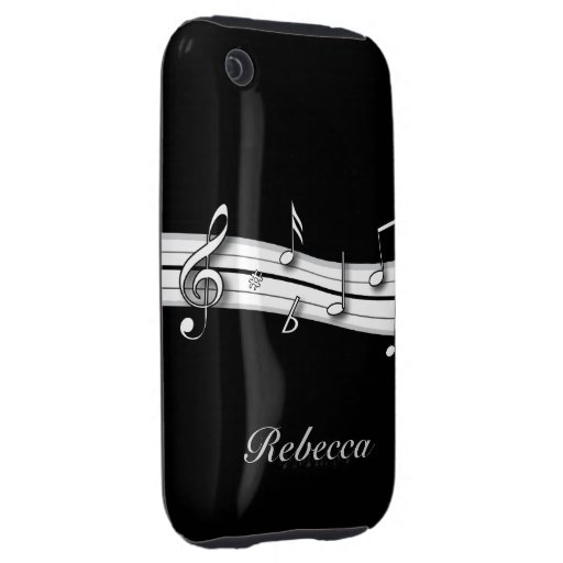 Grey black and white musical notes score iPhone 3 tough covers