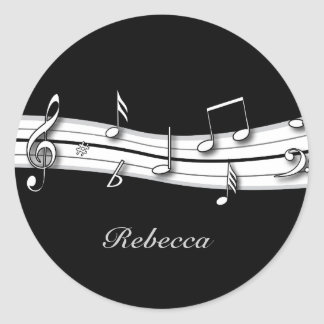 Grey black and white musical notes score classic round sticker