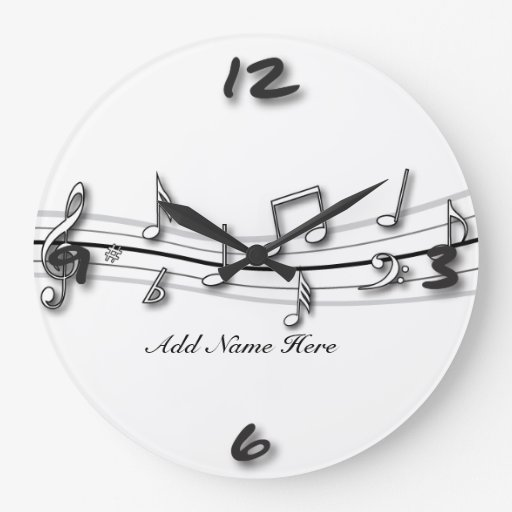 Grey black and white musical notes score wall clocks
