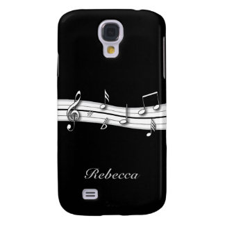 Grey black and white musical notes score galaxy s4 case