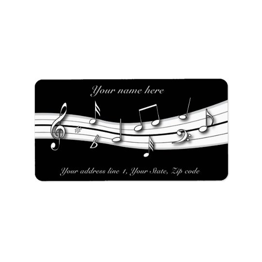Grey black and white musical notes score label