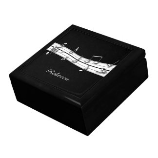 Grey black and white musical notes score large square gift box