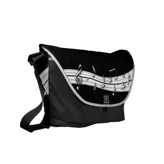 Grey black and white musical notes score messenger bags