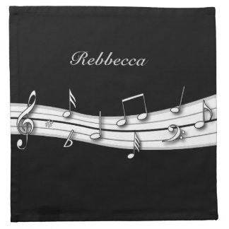 Grey black and white musical notes score napkin