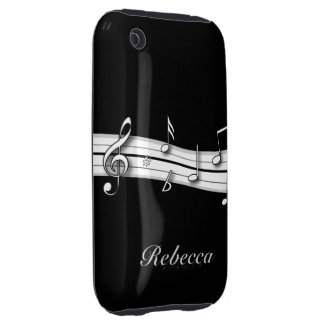 Grey black and white musical notes score tough iPhone 3 covers