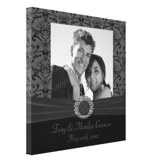 Grey & Black Baroque Jewel Add A Photo Frame Up Canvas Print