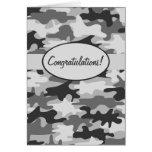 Grey Black Camo Camouflage Congratulations Custom Greeting Card