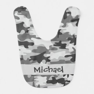 Grey Black Camo Camouflage Name Personalized Baby Bibs