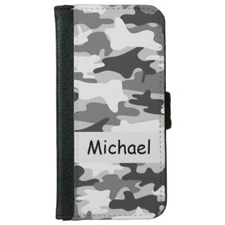 Grey Black Camo Camouflage Personalized Name iPhone 6 Wallet Case