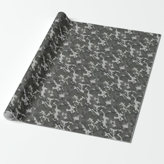 Grey Black Camo Modern Trendy Camouflage Wrapping Paper