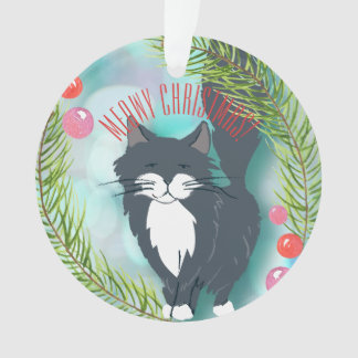 Grey Black Cat Wishing You A Merry Christmas Ornament