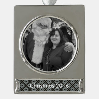 Grey Black Crisscross Silver Plated Banner Ornament