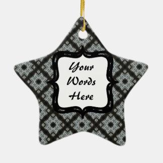Grey Black Crisscross Ceramic Star Decoration