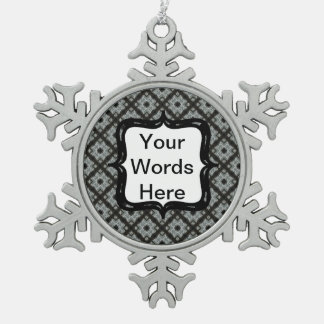 Grey Black Crisscross Pewter Snowflake Decoration