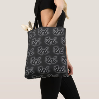 Grey/Black Electric Chinese Dragons Tote Bag