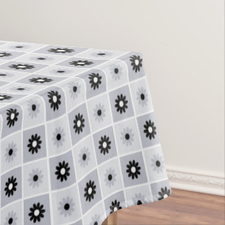 Grey/Black Floral Pattern Tablecloth