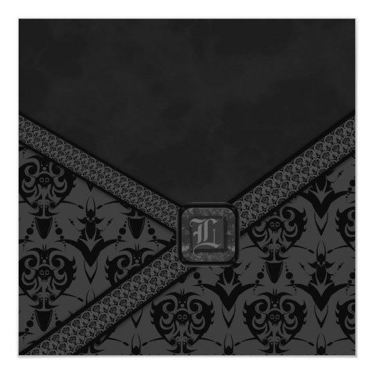 Grey & Black Goth Lace Wedding Card
