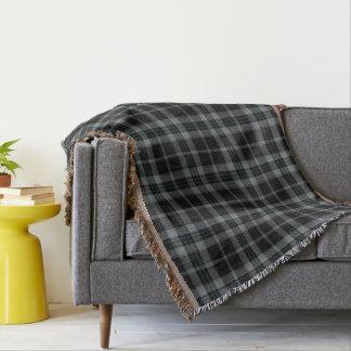 Grey Black Large Tartan Plaid Throw Blanket