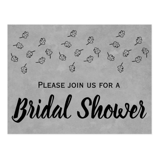 Grey & Black Leaves Bridal Shower Wedding Leaf Postcard