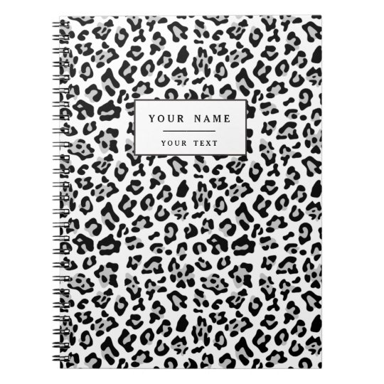 Grey Black Leopard Animal Print Pattern Notebook