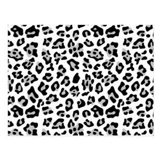 Grey Black Leopard Animal Print Pattern Postcard