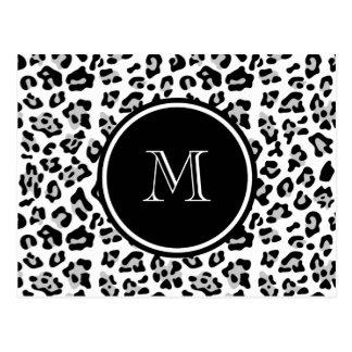 Grey Black Leopard Animal Print with Monogram Postcard