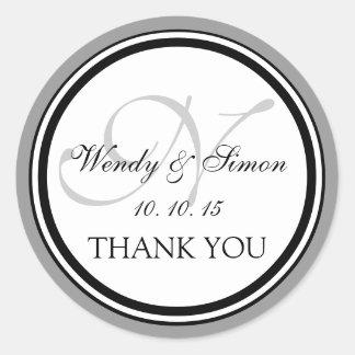 Grey Black Monogram N Wedding Thank You Round Stickers