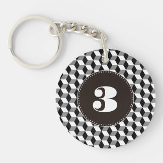 Grey, Black & White 3D Cubes Pattern Double-Sided Round Acrylic Key Ring