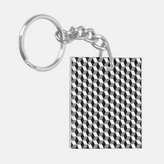 Grey, Black & White 3D Cubes Pattern Double-Sided Square Acrylic Key Ring