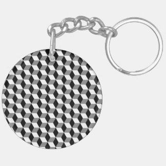 Grey, Black & White 3D Cubes Pattern Double-Sided Round Acrylic Keychain
