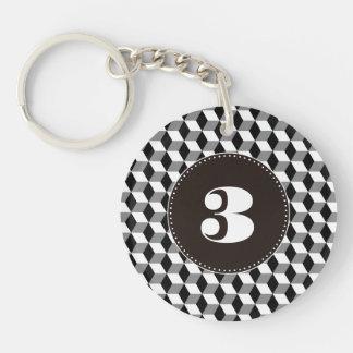 Grey, Black & White 3D Cubes Pattern Keychain