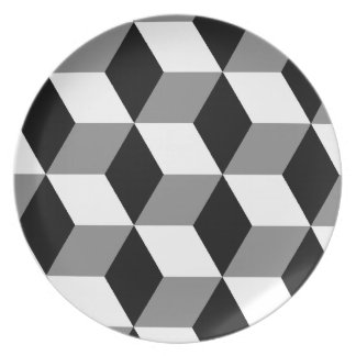 Grey, Black & White 3D Cubes Pattern Plate