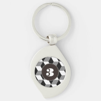 Grey, Black & White 3D Cubes Pattern Silver-Colored Swirl Key Ring