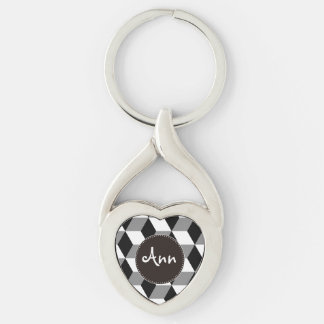 Grey, Black & White 3D Cubes Pattern Silver-Colored Twisted Heart Key Ring