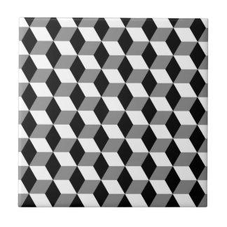 Grey, Black & White 3D Cubes Pattern Tile