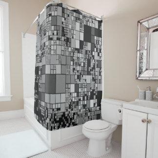 Grey black white geometric art cool shower curtain