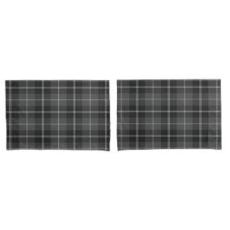 Grey black white modern plaid pillow cases