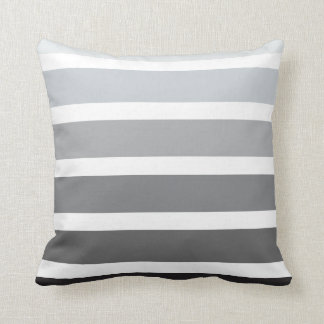Grey Black White Ombre Horizontal Stripes Cushion