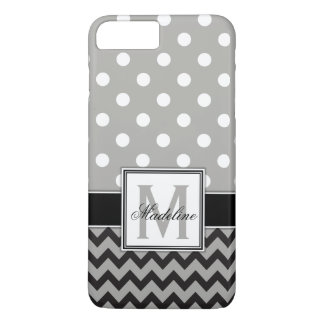 Grey, Black & White Polka Dots and Chevron Mobile iPhone 8 Plus/7 Plus Case