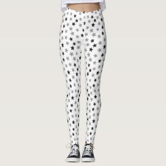 Grey Black White Stars Leggings