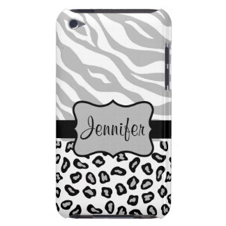 Grey, Black & White Zebra & Cheetah Personalized iPod Touch Case-Mate Case