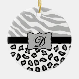 Grey, Black & White Zebra & Cheetah Personalized Round Ceramic Decoration
