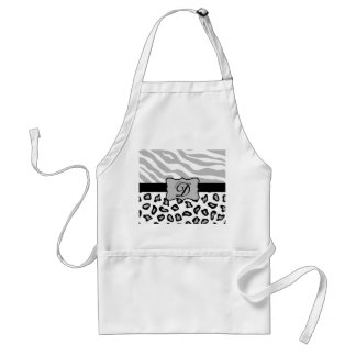Grey, Black & White Zebra & Cheetah Personalized Standard Apron