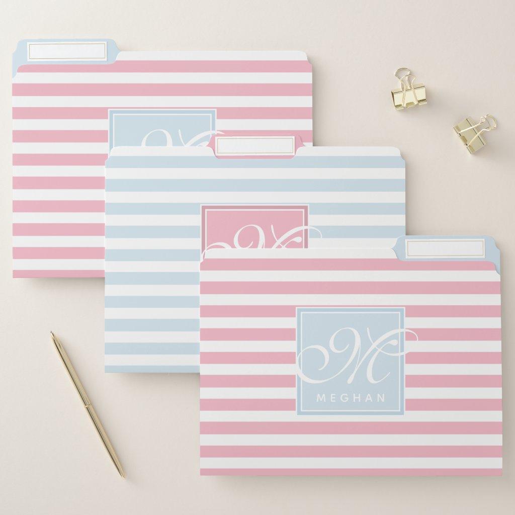 Grey Blue and Pink Striped - Script Monogram File Folder