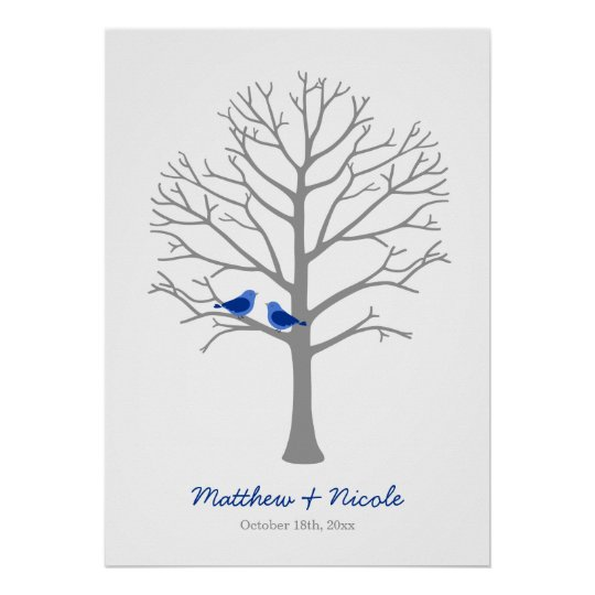Grey Blue Birds Fingerprint Tree Wedding Poster