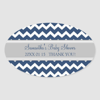 Grey Blue Chevron Baby Shower Favor Stickers