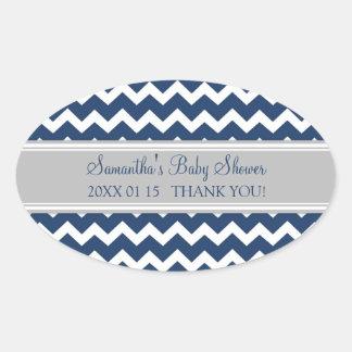 Grey Blue Chevron Baby Shower Favor Stickers