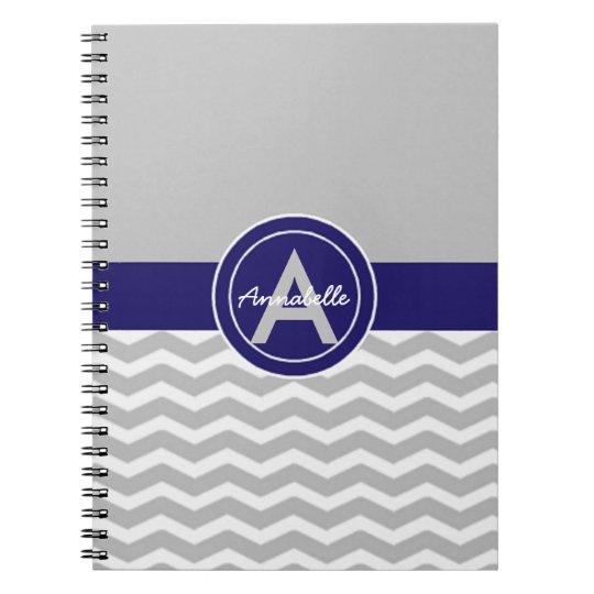 Grey Blue Chevron Notebook